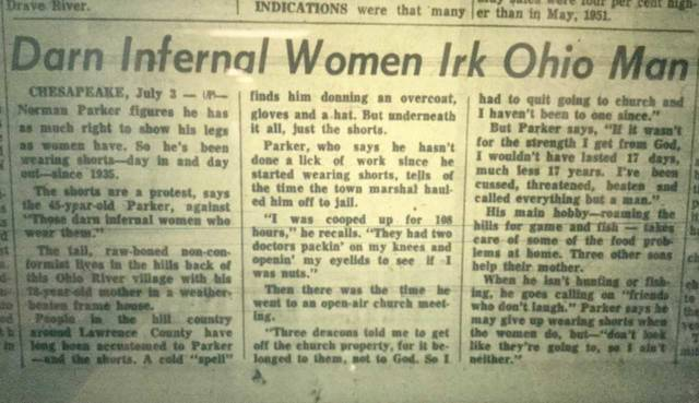 "Looking back: ""Darn infernal women irk Ohio man"" ran on the front page of the Record-Herald in the summer of 1952. What do you think about Norman Parker's protest against women?"