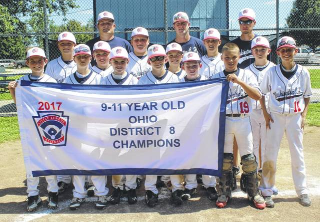 DISTRICT EIGHT CHAMPIONS — The Washington C.H. 11-year-old all-stars captured the Little League District Eight title with a 16-0 win over Eaton Sunday, July 9, 2017. The team is State-bound and will continue tournament play Saturday, July 22 in Cambridge. The team is pictured at home plate on the field at Fairborn Little League after beating Eaton. (front, l-r); Will Miller, Justin Robinson, Ben Mathews, Bryson Osborne, Hunter Hinkley, Jacob Miller, Bryce Yeazel; (middle, l-r); Coleden May, Hunter Allen, Luke Crabtree, Corbin Melvin, Isaiah Haithcock, Evan Lynch (back, l-r); manager Ryan May and assistant coaches Bob Robinson and Brian Yeazel.