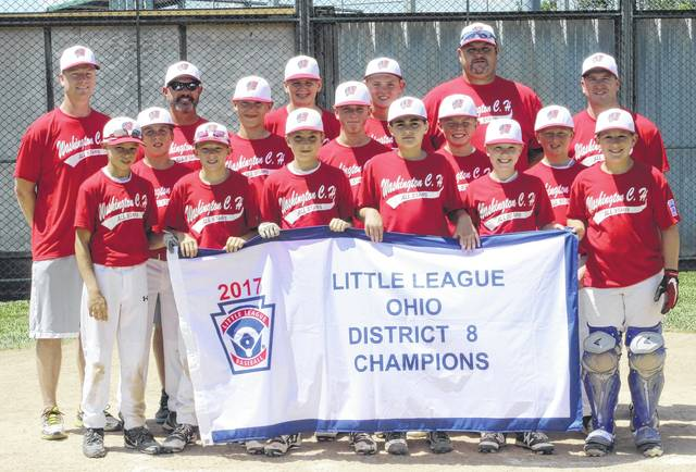 The Washington C.H. 12-year-old all-stars won the District Eight championship Sunday, July 2, 2017 with a 13-0 rout of Enon. The team plays its first game at the State tournament in Maumee Saturday, July 15. (front, l-r); Mason Coffman, Tate Landrum, Cole Little, Bryson Sheets, John Wall, Jonah Waters; (middle, l-r); Braydon Kettles, A.J. Dallmayer, Tyler Tackage, Wesley May, Brady Armstrong; (back, l-r); coach Greg Wall, manager Jason Waters, Drew Guthriem Tanner Lemaster, and coaches Brad Guthrie and Todd Tackage.