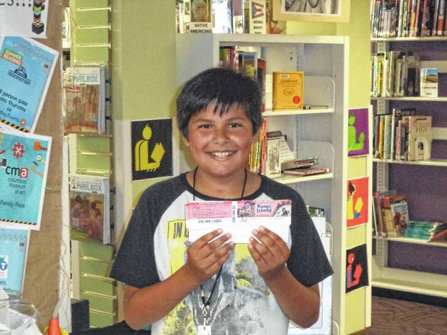 Carnegie Public Library recently awarded two more winners in their weekly prize give-a-ways for reading. Gavin Skaggs won tickets for four to Kings Island.
