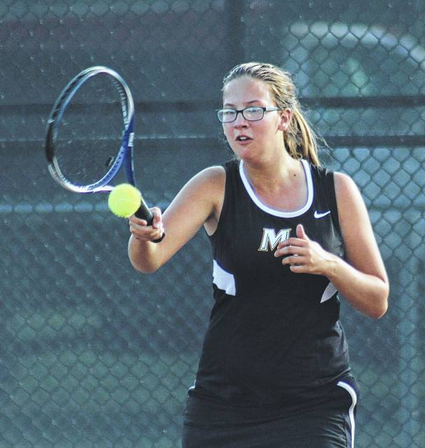 Beth Hogsett returns a shot during her third singles match against Circleville Monday, Sept. 25, 2017 at Miami Trace High School.