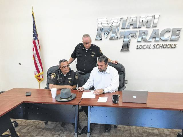 Fayette County Sheriff Vernon Stanforth, Fayette County Sheriff's Office Chief Deputy Andy Bivens, and Miami Trace Superintendent David Lewis discuss the social media threat made against the school district. The FCSO led a campus-wide search Tuesday morning in response to the threat.