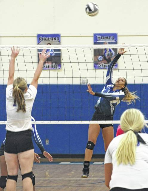 Hannah Haithcock makes the hit for Washington during a Frontier Athletic Conference match against Chillicothe at Washington High School Tuesday, Sept. 26, 2017.