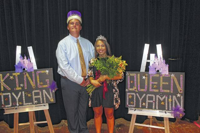 The Miami Trace High School King and Queen, Dylan Page and Dyamin Baker, were announced at an assembly on Friday.