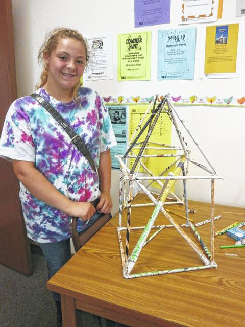 Jeffersonville Branch Library was the place to be for Miss Susan's Steam Challenge Program: Tower Power. Those participating used their imagination to create artistic inventions. Layia Card created this awesome tower.