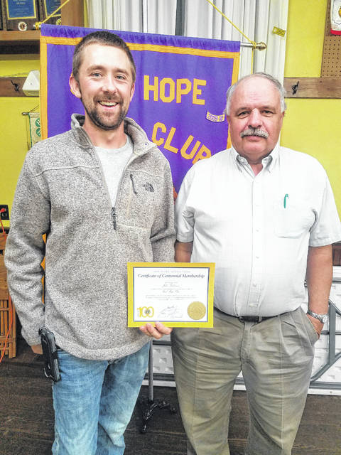 Newly-inducted member Lion Josh Anderson and his sponsor, Lion Ron Weade.