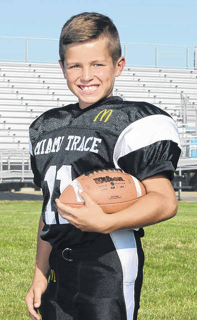 Austin Brown, above, of the 4th grade Black team, was named the Offensive Player of the Week for Week 8 of the Miami Trace Youth Football Program 2017 season.