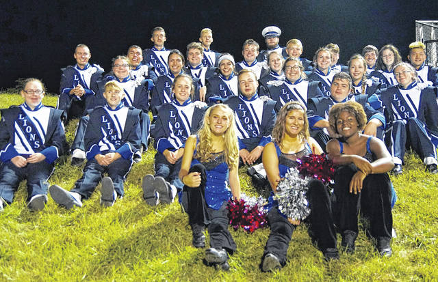 Seniors members of the Washington Blue Lion marching band and senior dance team members gather at Hillsboro Oct. 6, 2017. (front, l-r); Kirsten Wilson, Echo Flora, Bianca Rogers-Wright; (second row, l-r); Erica Wilson, Matthew Gilmore, Annie Semler, Alan Bailey, Shandon Shadburn; (third row, l-r); Maddie Herdman, Olivia Jimenez, Casey Ramirez, Ally Cartwright, Abigail Sever, Haley Copas, Jenny Fox, Chyna Cupp; (fourth row, l-r); Spencer Minyo, Josh Trimmer, Coleton Benner, Carter Stanley, Jack Luebbe, Cody Riley, Max Schroeder, Camryn Waldrop, Keiya Satoh; (in back, l-r); Brandon Underwood, Nate Horton and Macen Wells.