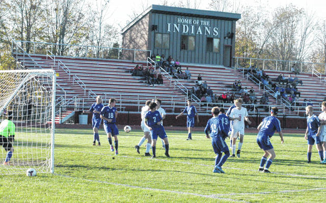 Several Washington Blue Lion players are pictured during the Sectional finals match at Hillsboro Thursday, Oct. 19, 2017. (l-r); Jack Leubbe (11), Isaiah Barden (18), Max Schroeder (7), Grant Kuhlwein (10), Allan Schreckengaust (43), Alan Bailey (13), Jordan Behm (12) and Nate Horton (1).