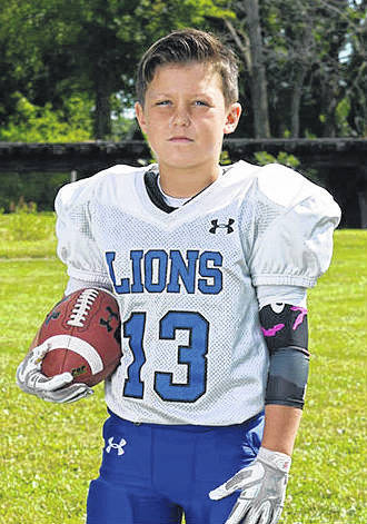 Charlie Eplin, above, is a fifth-grader at Belle Aire Intermediate School. He was named one of the Defensive Players of the Week for the White Lions for Oct. 14.