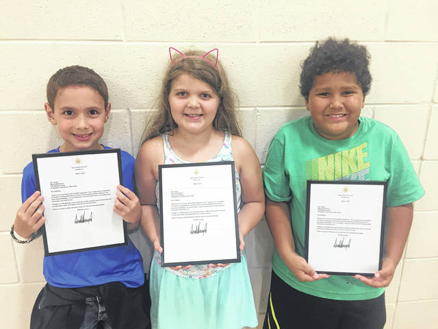 In a letter returned to students in the Lions Quest Program at Cherry Hill Primary last spring, President Donald Trump thanked them for their letters and suggestions about drug awareness. Pictured (L to R) are the students involved in writing letters to the President: Remi Paul, Alivia Dawson and Reignen Streitenberger.