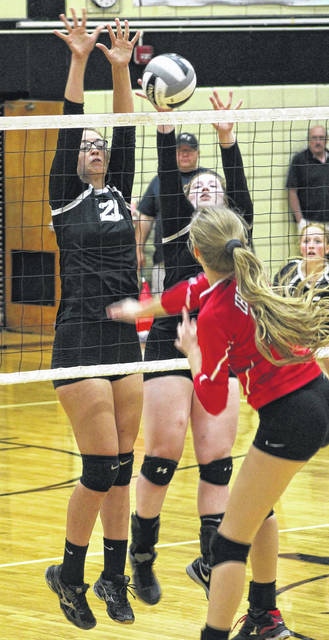 Miami Trace's Sidney Howard (left) and Erica Marshall combine for the block against Jackson during a Frontier Athletic Conference match Tuesday, Oct. 3, 2017 at the Panther Pit.