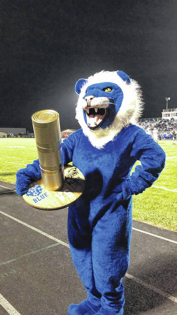 Washington Court House City Schools won the recent Black Vs Blue Food Drive by collecting 1,849 pounds of food for The Bread of Life Food Pantry at The Well at Sunnyside. The Blue Lion mascot, George Washington, took home the Golden Can Trophy for his district.
