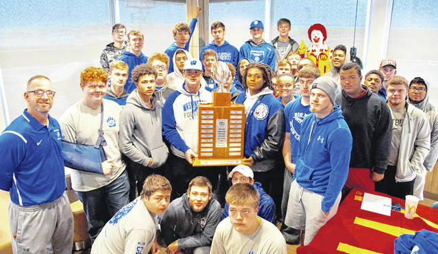 Members of the Washington Blue Lions football team gathered at the McDonald's located at 1401 Leesburg Ave. Saturday, Nov. 4, 2017, to celebrate their 43-12 win over Miami Trace. Washington High School gets to keep the McDonald's Traveling Trophy, sponsored by McDonald's owner and operator Nick Epifano, for a second consecutive year.