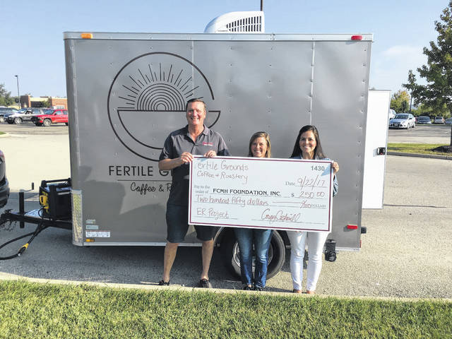 From left to right, Dan Roberts, FCMH Foundation board member, Corey Cockerill, owner of Fertile Grounds, and Stephanie Campbell, FCMH marketing and foundation coordinator. Cockerill recently made a donation to the FCMH Foundation.