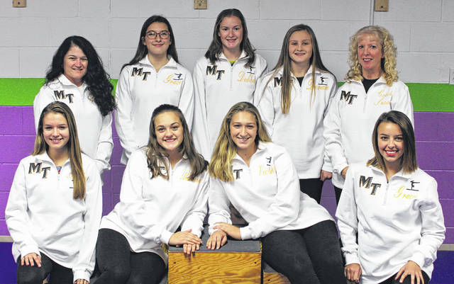 2017-18 MIAMI TRACE GYMNASTICS TEAM — (front, l-r); Abby Arledge, Madison Southward, Victoria Waits, Gracie Greene; (back, l-r); coach Chasity Thomas, Grace Rolfe, Debbie Abare, Devan Thomas and head coach Susan Holloway.