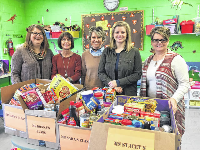 Grace Preschool recently held a food drive for the Bread of Life food pantry at The Well at Sunnyside. The volunteers at The Well thanked the staff and children for their generous donation. Pictured (L to R) are staff members who held the food drive: Amy Vincent, Donna Butler, Director Danielle Davis, Sara New and Stacey Huff.
