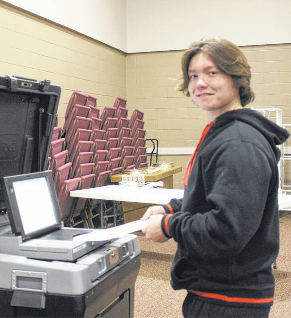 Darion Stritenberger voted for the first time on Tuesday afternoon during the general election at the South Side Church of Christ polling location in Washington C.H. He learned how to properly check-in and cast his ballot thanks to the helpful poll workers.