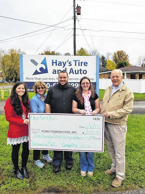 Hay's Tire & Auto recently made a donation to the FCMH Foundation. From left to right, Stephanie Campbell, marketing/foundation coordinator at FCMH, Shirley Pettit, FCMH Foundation board member, Brad and Jennifer Hay, owners of Hay's Tire and Auto, and Roger Kirkpatrick, FCMH Foundation president.