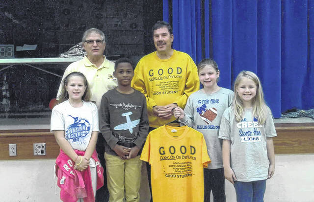 The Washington Lions Club sponsored the GOOD Program at Belle Aire Intermediate School given by motivational speaker Ron Derry. He delivered his message to all fourth graders and challenged them to do their best and not give up. Derry, formerly a teacher and coach, lost his eyesight years ago. He has since dedicated his life to bring his message to students. Pictured (back row): Ray Deeks from Washington Court House Lions Club and Ron Derry. Front row: Kate Bailey, Olingha Atanya, Karris Dye and Riley Langley.