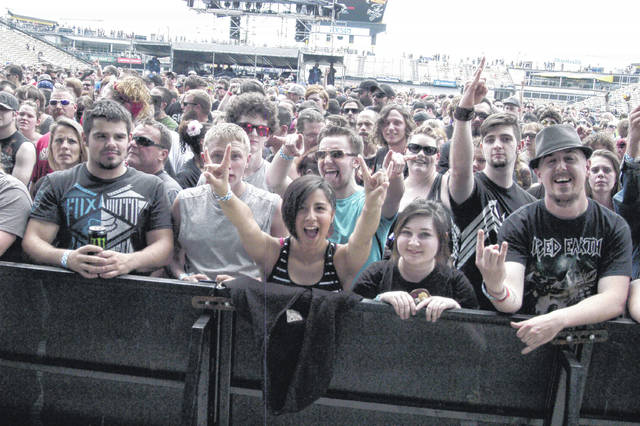 Crowds pose as the camera turns from the acts on stage to the audience at the Rock on The Range main stage in 2016. More than 120,000 rock music fans attend the three-day concert.