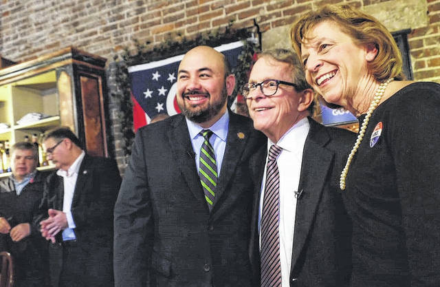 From left in the right foreground are Ohio Speaker of the House Cliff Rosenberger, Ohio Attorney General and Republican gubernatorial candidate Mike DeWine, and DeWine's wife Fran.