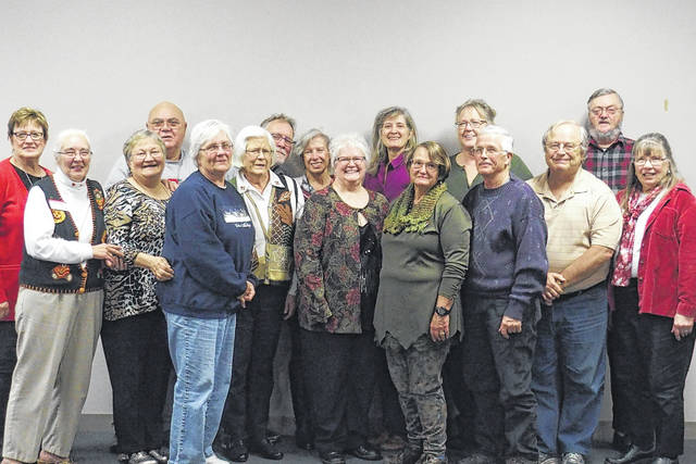 Fayette County Master Gardeners recently held its annual banquet. Pictured (L to R): front row: Anna Maxson, Elaine Crutcher, Pat McGilly, Debbie Roby, Michele McMurray, Sara Creamer, Don Creamer, Roger Griffitts and Carolyn Essman. Back row: Brenda Caudill, Charlie Crutcher, Peter Torgerson, Pam Anderson, Jean Webb, Jane Sindel, and Jim Essman.