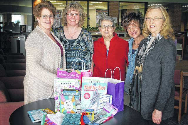 Members of Southern State Cancer Crusaders accept donations from Delta Kappa Gamma honorary society toward the Kare Kits project. Pictured are (l-r): Michelle Meddock, Angie Moots, Joy Gilmore, Rainee Angles, and Becky Storer.