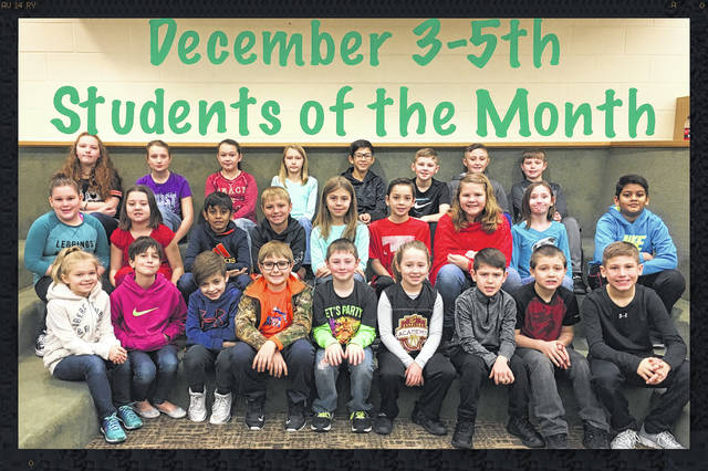 For third through fifth grade, the students were: front row: Ashlynn Davis, Chelsie Toppins, Caden Brightman, River Havens, Gabe Snyder, Kaylee Craig, Brody McBee, J.T. Wolfe and Anthony Huffer. Middle Row: Rilyn Jones, Norah Burson, Akshar Patel, Kaden Bryant, Madison Marrero, Janson Smith, Adrienne Jacobson, Elizabeth Watson, Om Patel Back Row: Gabbie Miller, Lily Waddle, Jaylyn Stanley, Lillee Joseph, Malachi Jones, Jake Combs, Hunter Havens, Austin Ruth Not Pictured: Connor Parrish, Trinity Penwell, Keegan Houser, Kaylen Pavey, Kyleigh Caldwell, M.J. Herrell, Jeffrey Fowler