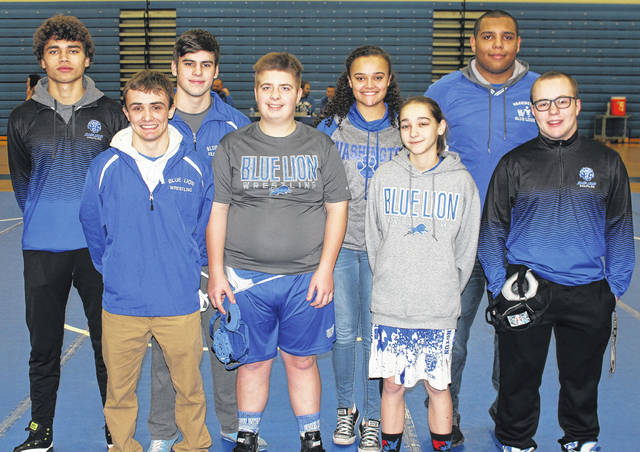 WASHINGTON BLUE LION WRESTLING SENIORS — Senior members of the Blue Lion wrestling team were honored prior to the match against Miami Trace Thursday, Jan. 19, 2018. (front, l-r); Levi Clay, Austin York, Courtney Walker, Alan Bailey; (back, l-r); Zane Nelson, Chris Conger, Jaelyn Mason (statistician) and Adrian Butterbaugh.