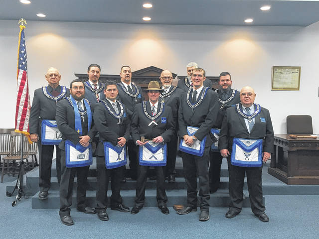 The 168th annual installation of officers was held Dec. 9 at the Fayette Masonic Lodge No. 107. Pictured (L to R): front row: Chaplain - David Carr, Senior Warden - John Coffman, Worshipful Master - Matthew Rumer, Junior Warden -Brent Garringer, Secretary - Charles Crutcher. Back row: Tyler - Leonard Sines, Senior Steward - Terry Gruber, Senior Deacon - Anthony Cooper, Treasurer - Paul Sands, Junior Steward - Jeffery Michael and Junior Deacon - Justin Coffman.