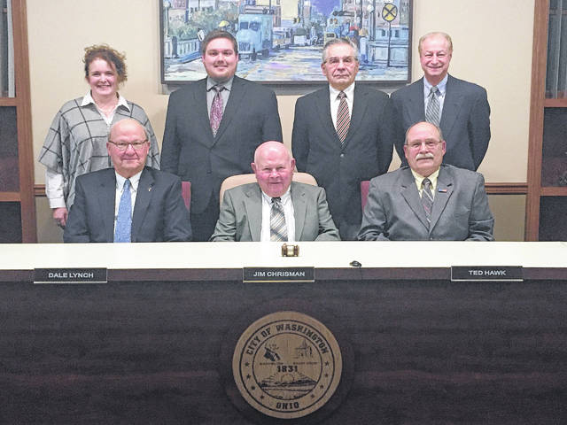 The new Washington C.H. City Council met for its first regular meeting of 2018 on Wednesday. In front are vice chair Dale Lynch, chairperson Jim Chrisman, Ted Hawk, (back row) Kendra Hernandez, Caleb Johnson, Steve Jennings, and Steve Shiltz.