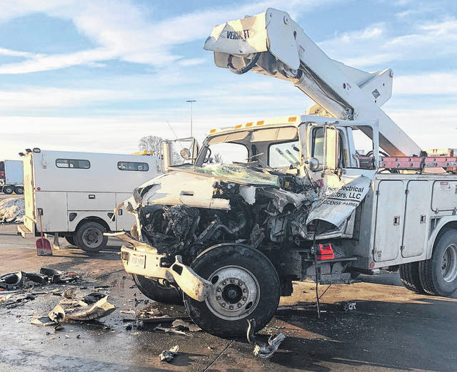 The driver of an International electrical truck was flown by medical helicopter to Miami Valley Hospital Friday morning following a two-vehicle collision on State Route 435 in front of Tanger Outlet Mall.