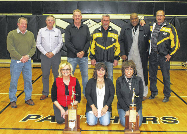 On Saturday night, Miami Trace High School honored the 1977-78 basketball team that went all the way to the State Final Four. Those in attendance were (front, l-r); Linda Merritt-Bernard, Tammy Arnold-Girton and Kathy Kirkpatrick-Stinson; (back, l-r); David Creamer, Steve Coe, Bill Hanners, Kevin Stockwell, Gerald Evans and John Persinger.