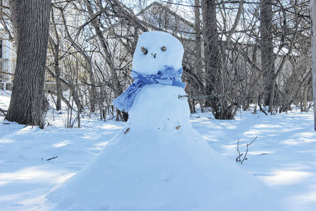 A snowman was seen on Dayton Avenue in Washington Court House chilling in the low temperatures last week, but he soon vanished as warmer temperatures moved into the region. According to weather forecasts, temperatures might become colder early next week with a low chance of snow showers or flurries.