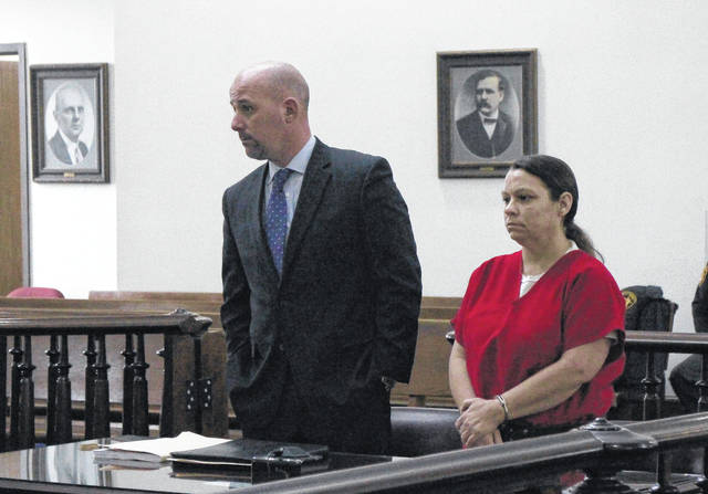 Grace Cordell, right, appears in Highland County Common Pleas Court on Wednesday with defense attorney JD Wagoner.