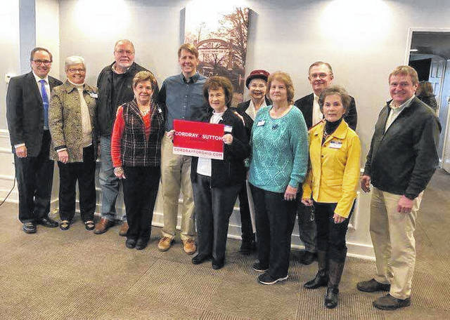 Democratic gubernatorial hopeful Rich Cordray (middle) posted on Twitter recently that he has received strong support from southern Ohio Democratic county chairs, including Fayette County Democratic Executive Committee Chair Judy Craig, (holding the sign).