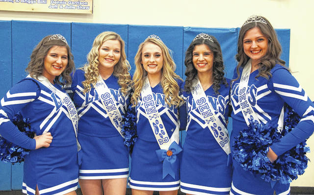 Washington Blue Lion senior basketball cheerleaders were recognized prior to the game against Springfield Shawnee Saturday, Feb. 17, 2018. (l-r); Echo Flora, Delaney Greer, Kiersten Wilson, Jazmin Cook and Harley Dawson. Not pictured: Taylor Long.