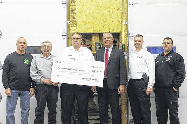 Left to right: Concord-Greene Fire Department Chief Ralph Stegbauer, BPM Joint Fire District Chief Ron Huff, Washington C.H Fire Department Chief Tom Youtz, Ohio Fire Marshal Jeff A. Hussey, Wayne Township Fire Rescue Chief Chris Wysong, and Pic-A-Fay Joint Fire District Chief Harold DeSanto.