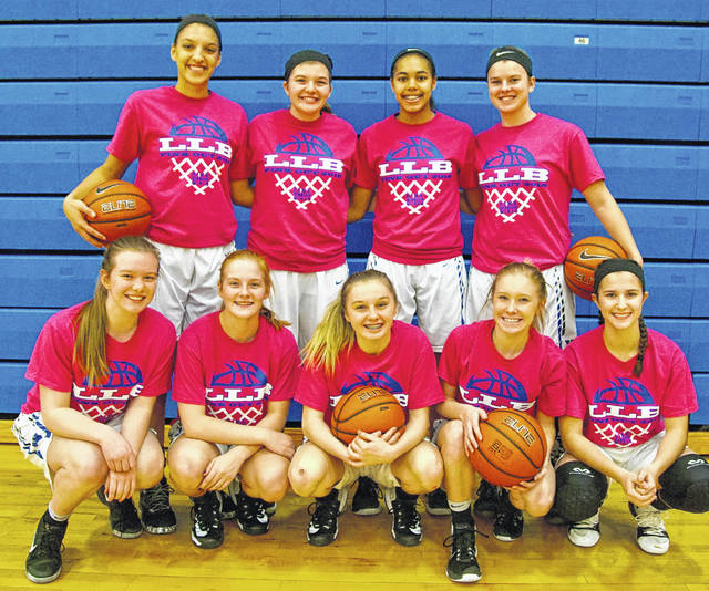 The Washington Lady Blue Lions held a Pink Out night to raise awareness for breast cancer on Jan. 31, 2018, the night of the McClain game. Above are the Lady Lions wearing their Pink Out t-shirts (front, l-r); Halli Wall, Tabby Woods, Bre Taylor, Maddy Garrison, Kassidy Hines; (back, l-r); Hannah Haithcock, Maddy Jenkins, Rayana Burns and Shawna Conger.