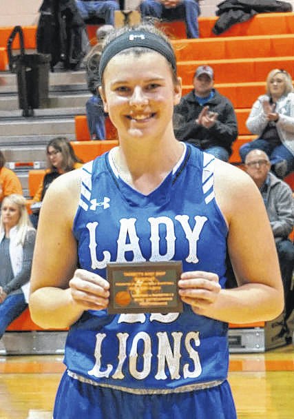 Washington sophomore Shawna Conger was chosen as Most Valuable Player in the shoot-out game against Chesapeake held Saturday, Feb. 3, 2018 at Ironton High School. Conger hit six threes and scored a total of 20 points for the Lady Lions.