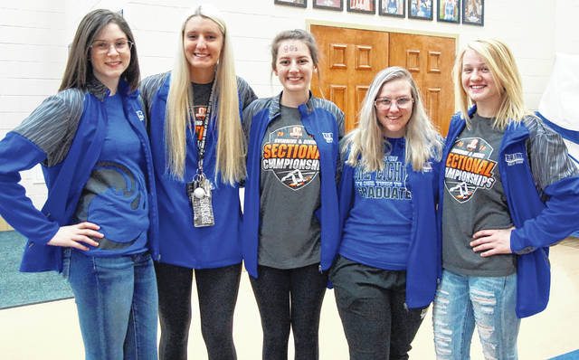Washington High School's senior members of the swim team were recognized during senior night festivities prior to the basketball game against Sprinfield Shawnee Saturday, Feb. 17, 2018. (l-r); Camryn Waldrop, Faith Kobel, Ally Cartwright, Sabra Hines and Megan Rohrer. Not pictured: Casey Ramirez.