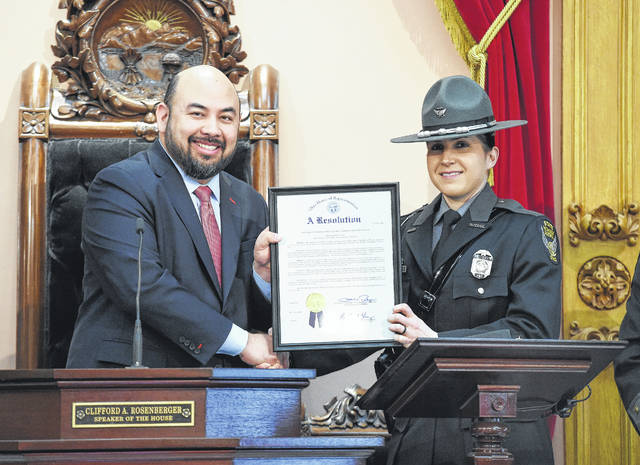 Speaker of the Ohio House Clifford A. Rosenberger (R-Clarksville) recently honored the 2017 Ohio State Highway Patrol (OSHP) Trooper of the Year Brittany Noah.