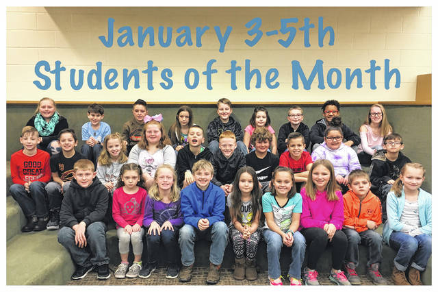 The Miami Trace Elementary School announced the January Students of the Month for the 3-5 grades. Front row: Gavin Cottrill, Rebecca Deakynne, Elizabeth Webb, Sam Stoughton, Tieryn Ivy, Rhiley Keaton, Peyton Pitzer, Nate Gibbs and Sydnie Fisk. Middle row: Darrien Mason, Sinjin Smith, Bella Shull, Lilly Hamilton, Grant Guess, Will Enochs, Luke Armstrong, Austin Brown, Arianna Jones and Ayden Eakins. Back row: Nevarra Shiltz, Caden Abraham, Evan Colegrove, Karey Blaney, Ethan Pavey, Abreanna Daugherty, Eric Taylor, Jayden Jones and Caitlin Cottrill. Not pictured: Chesney Vance, Leanna Marshall, Jameson Strider, Casey Cottrill, Jakarri Ames and Halleigh McGraw.