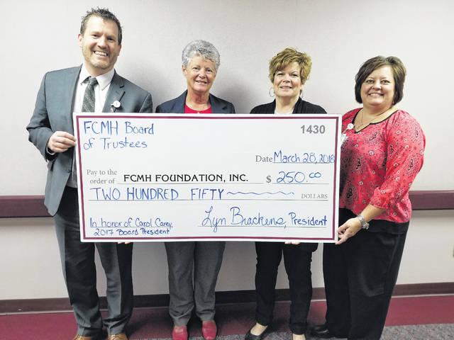 (From left) FCMH CEO Mike Diener, 2017 Board President Carol Carey, 2018 Board President Lyn Brackens, and FCMH Foundation Director, Whitney Gentry.