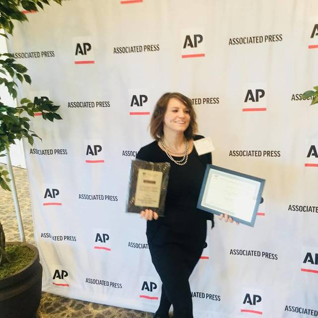 Record-Herald news reporter Ashley Bunton was the winner of two Associated Press awards Saturday at the annual Ohio Associated Press Media Editors awards banquet in Columbus.