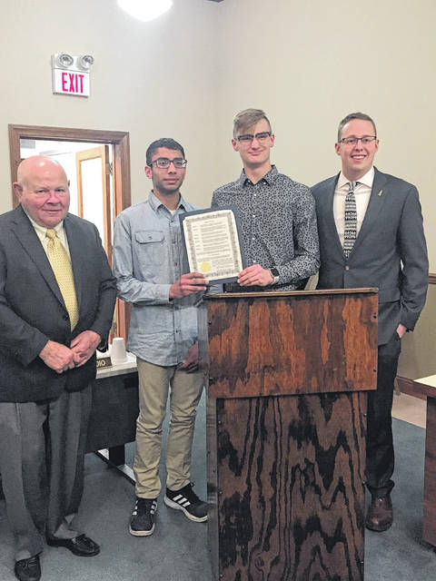 A group of students from the Washington City Schools known as the Superintendent's Advisory Council, which consists of students ranging from the sixth grade to the 12th grade, come together to discuss current ideas and express opinions in open discussion regarding the school. This group came up with ideas written for a proclamation presented by city council. Pictured (L to R): Jim Chrisman, Shlokansh Shah, Eli Lynch and Trevor Patton.