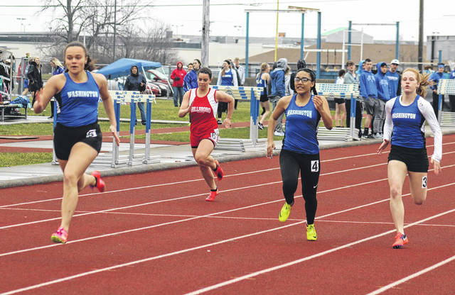 The Washington Lady Blue Lions swept the first three spots in the 100-meter dash at the season's first track meet Tuesday, March 27, 2018 at Washington High School. Pictured (l-r); Jaelyn Mason, 1st; Tahja Pettiford, 3rd and Tabby Woods, 2nd.
