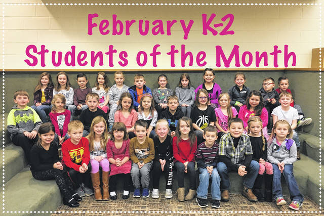 The Miami Trace Elementary School recently announced the February Students of the Month for the K-2 grades. Pictured (L to R): front row: Jordyn Allen, Matthew Arnold, Natalie Stoughton, Addie Baughn, Hayden Cummings, Lanie Dawes, Chevy Dilley, Nate Kyle, Hunter Rapp, Addilyn Stanforth and Mariyha Mcdaniel. Middle row: Drake Ecton, Paige Talley, Aydan Brenwalt, Nevaeh Day, McKenna Groves, Austyn Anderson, Audrey Campbell, Jenna Wisecup, Katelyn Phillips and Caleb Hatfield. Back row: Karlee Johnson, Jenna Manns, Tommy Hughes-Harris, Zoey Penrod, Jocie Wilt, Gage Davis, Lea Wood, Madison Yoakum, Brilynne Ford, Olivia Chain, Alex Cogan and Isaiah Langley.