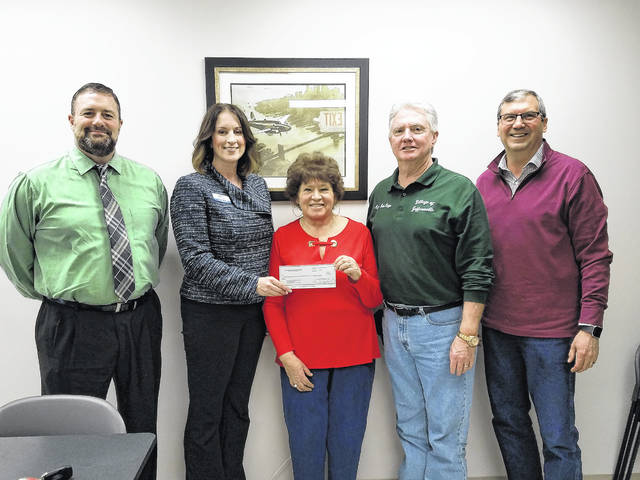 Last year the Fayette County Park District Board wrote letters of intent to offset the expense of the local share requirements toward grant applications. On Wednesday, the board was able to do just that and awarded the village of Jeffersonville $7,100. Pictured (L to R): David Lewis, Angie Tackett, Sue Burnside, Bob Kinzer and Dan Stahl.